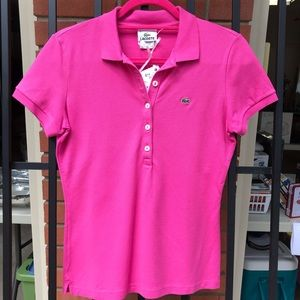 Lacoste pink polo shirt.